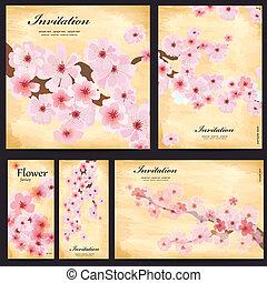 kaarten, floral, vastgesteld ontwerp, jouw