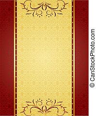 kaarten, ontwerp, achtergrond, goud, uitnodiging