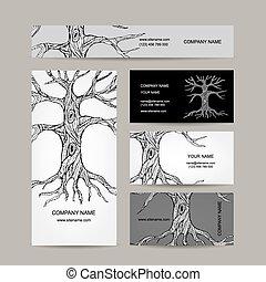 kaarten, ontwerp, boompje, zakelijk, roots.