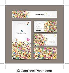 kaarten, vastgesteld ontwerp, jouw, zakelijk