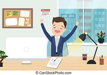 kantoorbediende, moderne, of, bureaubinnenland, zakenman, meubel, kaukasisch