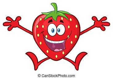 karakter, armen, aardbei, fruit, mascotte, open, spotprent, vrolijke