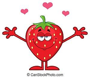 karakter, armen, het koesteren, aardbei, fruit, hartjes, open, spotprent, mascotte