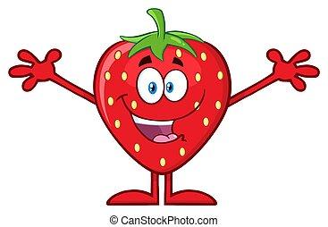 karakter, armen, het koesteren, aardbei, fruit, mascotte, open, spotprent, vrolijke
