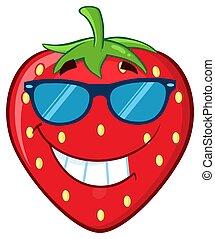 karakter, fruit, spotprent, mascotte, het glimlachen, aardbei, zonnebrillen