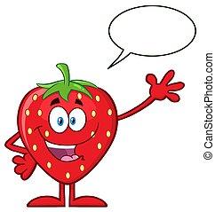 karakter, groet, zwaaiende , aardbei, fruit, toespraak, mascotte, bel, spotprent, vrolijke