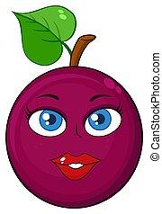karakter, hart, fruit, spotprent, gezicht, vrouw, mascotte, blad, hartstocht