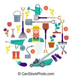 karakter, illustration., toolbox, tuinman
