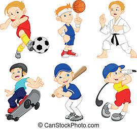 karakter, jongen, spotprent, sportende