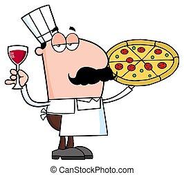 karakter, kok, glas, het houden pizza, spotprent, wijntje