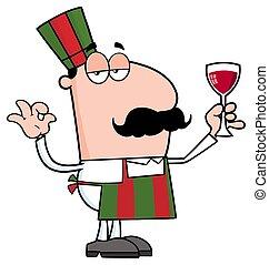 karakter, kok, glas, vasthouden, spotprent, wijntje