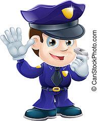 karakter, spotprent, politieagent, illustr