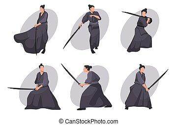 karakter, spotprent, set, samurai