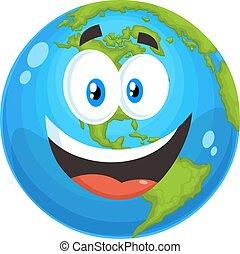 karakter, vrolijke , globe, spotprent, aarde