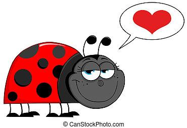 karakter, vrolijke , spotprent, lieveheersbeest