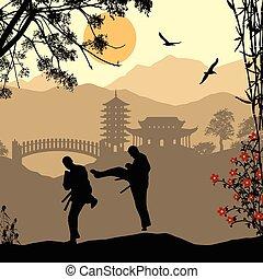 karate, aziaat, landscape