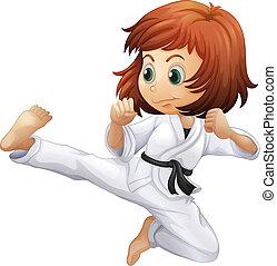 karate, dapper, dame, jonge