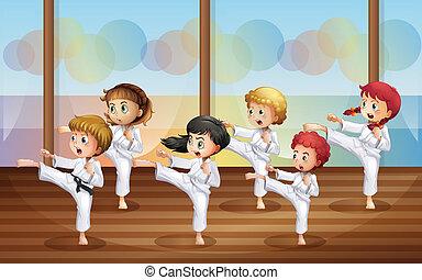 karate, geitjes, beoefenen