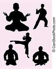 karate, geitjes, silhouette, 02.