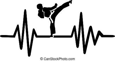 karate, hartslag, lijn
