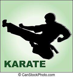 karate, hoog, vechter, kickboxen, schop
