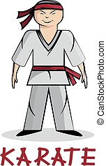 karate, jonge, spotprent, illustratie, man