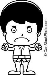karate, jongen, boos, spotprent