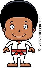 karate, jongen, het glimlachen, spotprent