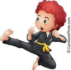 karate, jongen, jonge