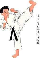 karate, jongen, jonge, spelend