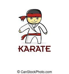 karate, jongen, spotprent