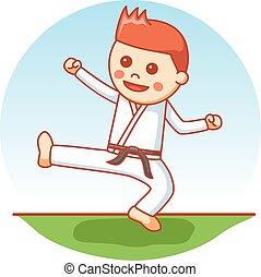 karate, jongen, spotprent, illustratie