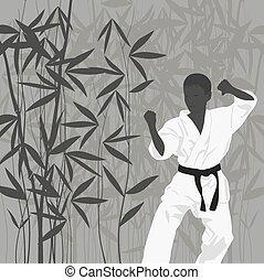 karate, jongen, verloofd, l