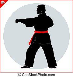 karate, krijgshaftig, arts., vechter, scene.