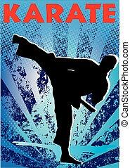 karate, kunst, poster, hoog, krijgshaftig, schop