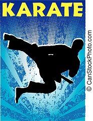 karate, martial arts, sprong, poster