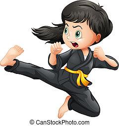 karate, meisje, dapper