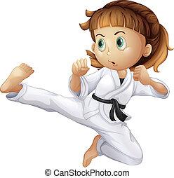 karate, meisje, dapper, jonge