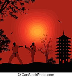 karate, mooi, landscape