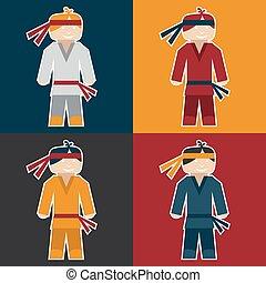 karate, plat, sticker, man