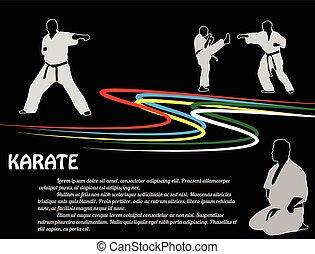 karate, poster, achtergrond