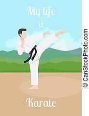 karate, poster, leven, mijn