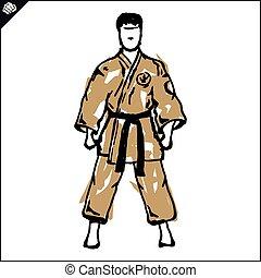 karate, poster, vechter