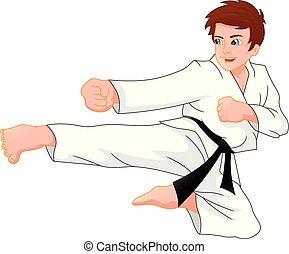 karate, schattig, jongen