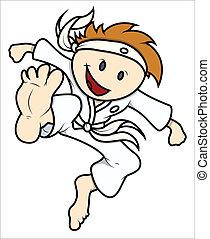 karate, schattig, vector, geitje