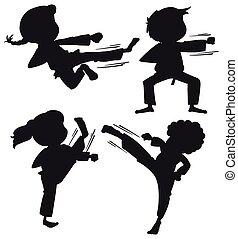 karate, set, silhouette, geitjes