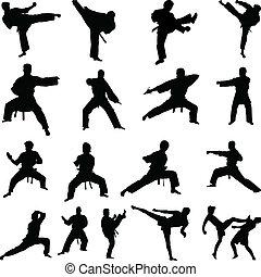 karate, silhouettes, maniertjes, gevarieerd