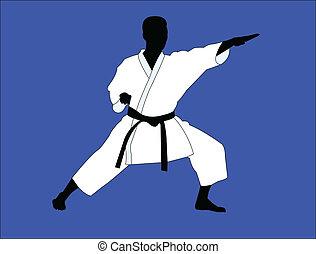 karate, speler, vector, -