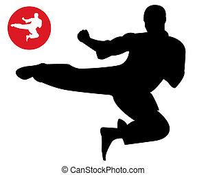 karate, sprong