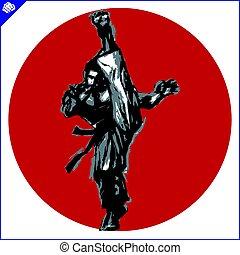 karate, vechter, hoog, krijgshaftig, arts., schop